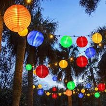 Solar Powered 4.8M 20pcs Big Lantern Ball String Lights Fairy Garlands For Holiday Wedding Yard Patio Christmas Garden