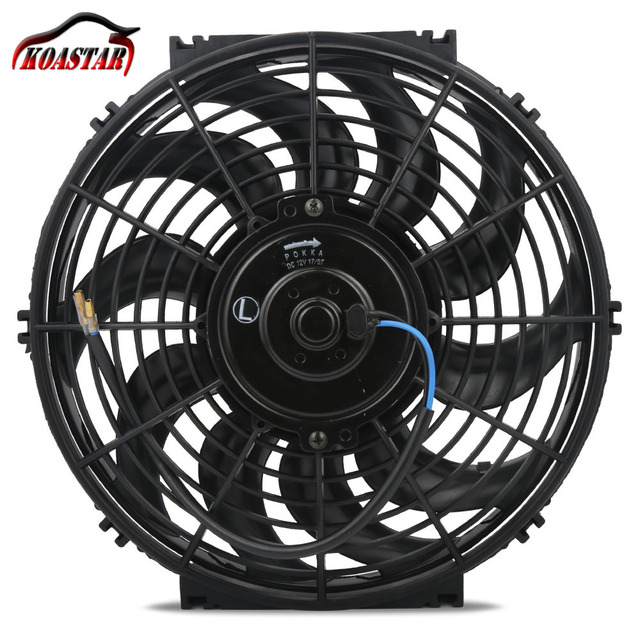 """12"""" Inch Universal 12V 80W Slim Pull Push Racing Electric 10 S-Blades Engine Cooling Fan"""