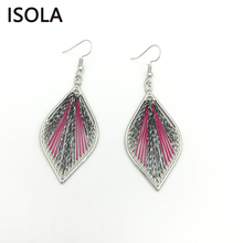 ISOLA Handmade Hollow Knitted Bohemia Woven Thread Silk Vintage Leaf Earrings Statement Tear Drop Ethnic Elliptical Yarn Earring