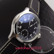 modisch 47mm Parnis polished case white marks black dial 6498 hand winding movement Men's Watch