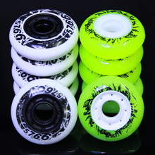 8PCS/Set 72/76mm Inline Skates Wheels PU Roller Skate Wheels with Bearings White & Green Colors Available