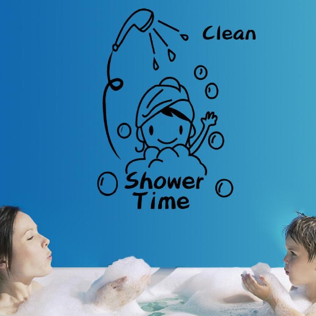 ᐅfree shipping new Shower Time Cartoon Wall Stickers For Bathroom ...