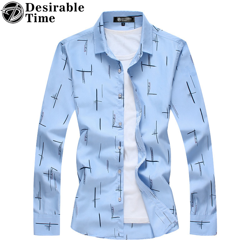 Men Sky Blue Shirts Big Size Fashion 2017 Autumn New 6XL 7XL Casual Striped Shirt Men DT082 ...