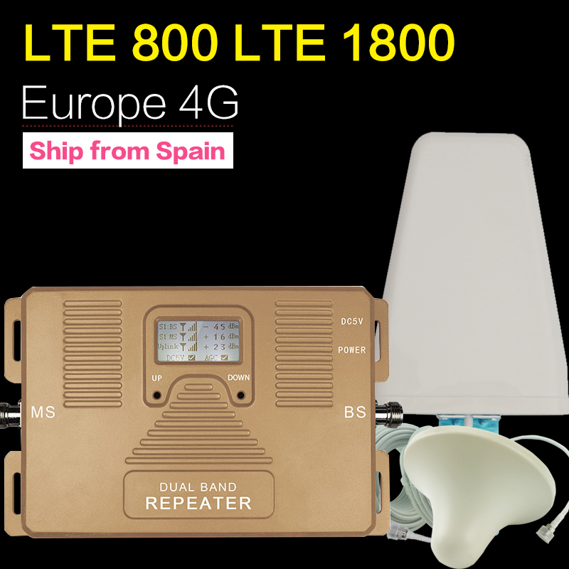 ATNJ 4G LTE 800 B20 LTE 1800 B3 Dual Band Cellular Repeater 4G LTE Ενισχυτής GSM 4G 800 1800 Moblie Booster Antenna Set