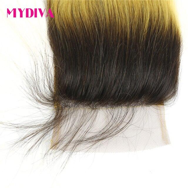 Mèches brésiliennes Non Remy avec Closure ombré-Mydiva   Cheveux naturels lisses, racines foncées, jaune ombré