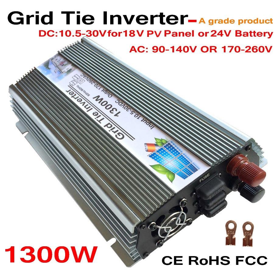 цена на Grid Tie 1300W Pure Sine Wave Solar Inverter for 18V 1500W PV Power, 10.5V~30VDC, 90V-140V/170V~260VAC, 50Hz-60Hz,Wind Turbine