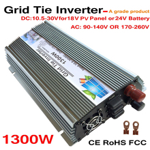 Grid Tie 1300W Pure Sine Wave Solar Inverter for 18V 1500W PV Power, 10.5V~30VDC, 90V-140V/170V~260VAC, 50Hz-60Hz,Wind Turbine