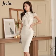 Jielur Lace White Dresses Female Bodycon Elegant V-neck Sexy Womans Dress High Waist Europe Hipster Vintage Vestidos Summer 2019