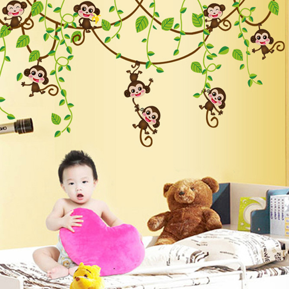 DIY Wall Stickers Home Decor Monkey Climbing Tree Decals For Kids ...