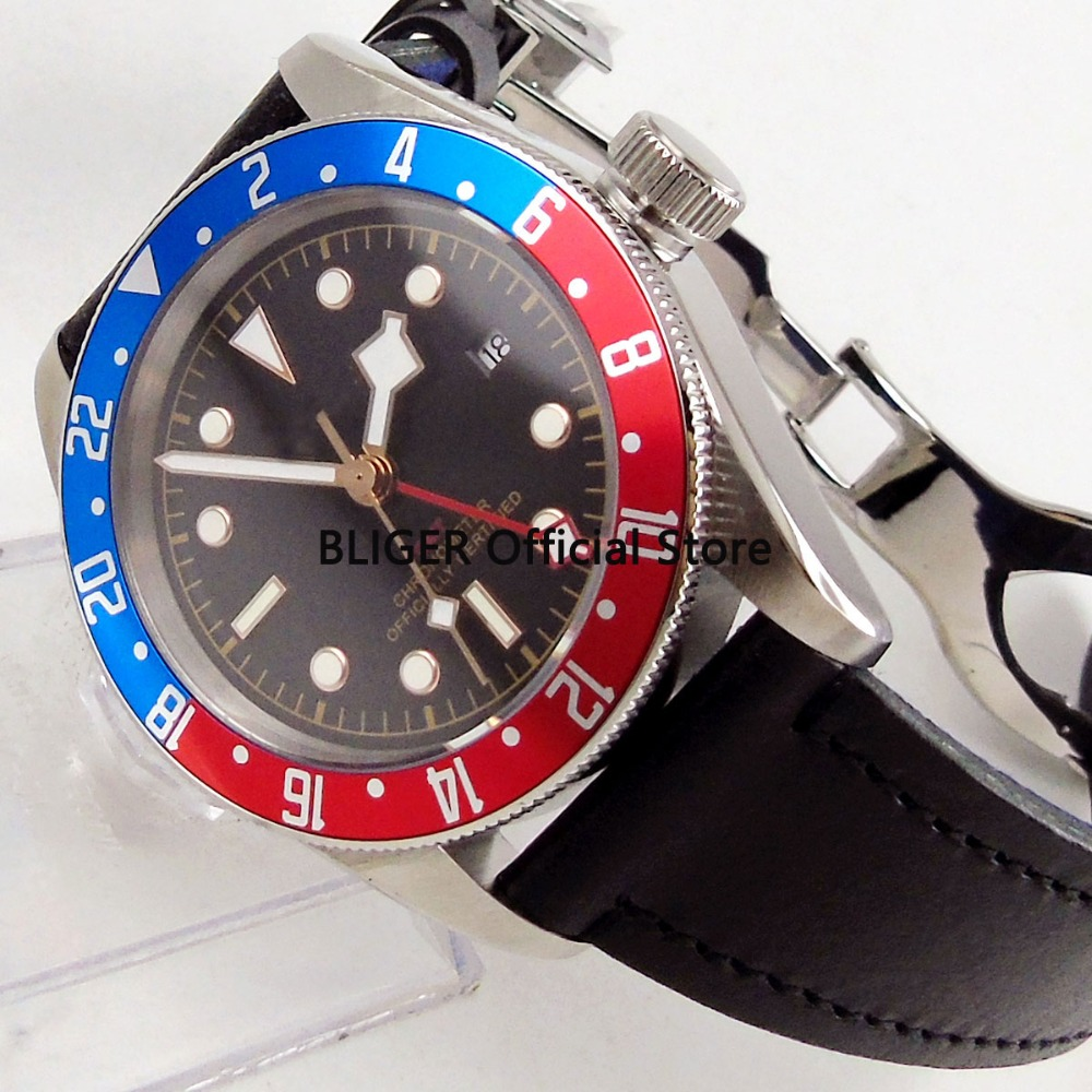 Classic 41mm Black Sterile Dial Blue Red Alloy Rotating Bezel GMT Function Luxury Brand Automatic Movement Mens Watch BC107Classic 41mm Black Sterile Dial Blue Red Alloy Rotating Bezel GMT Function Luxury Brand Automatic Movement Mens Watch BC107