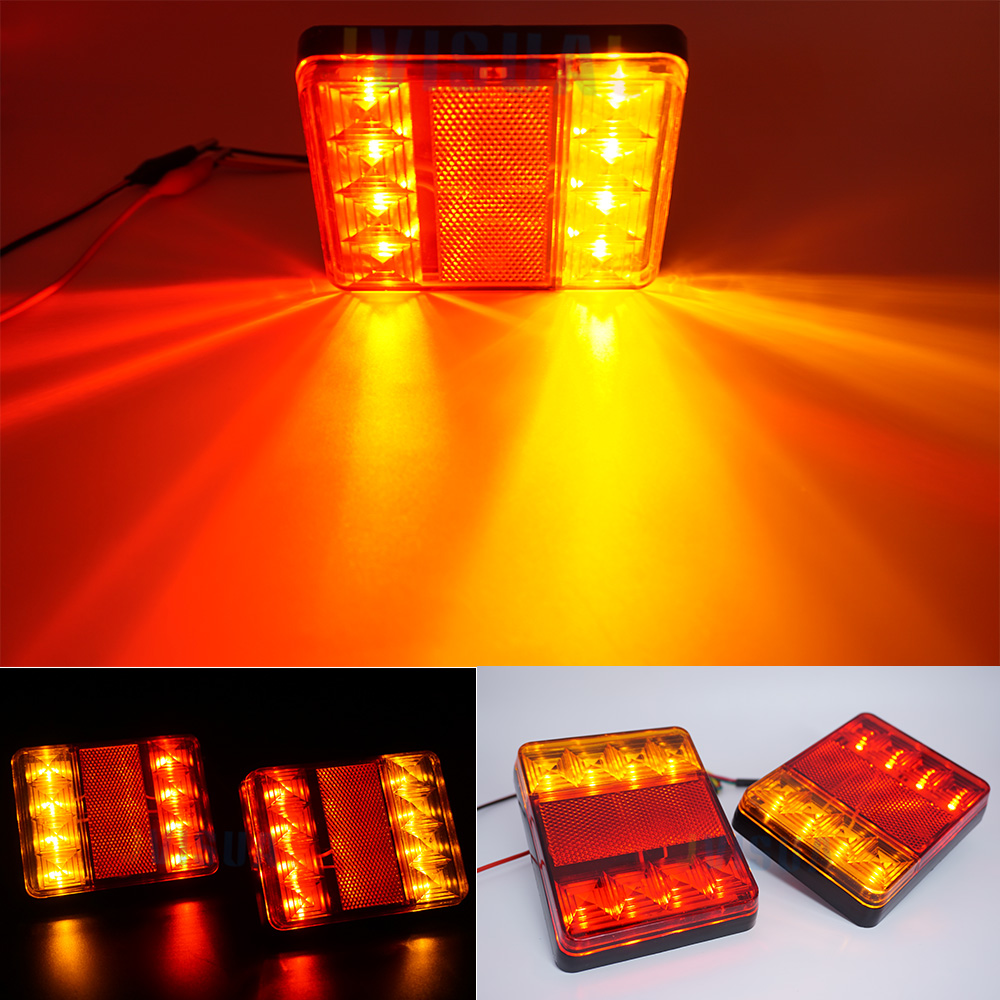 2Pcs 8 LED Truck Rear Tail Lights Warning Lighting Rear Lamps 12V Waterproof Tailights Rear Parts For Trailer Truck Lorry Boat