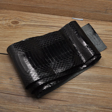 Gloosy Black color natural snake skins For DIY leather handbag wallet Leathercraft Sewing accessories Two size for choose