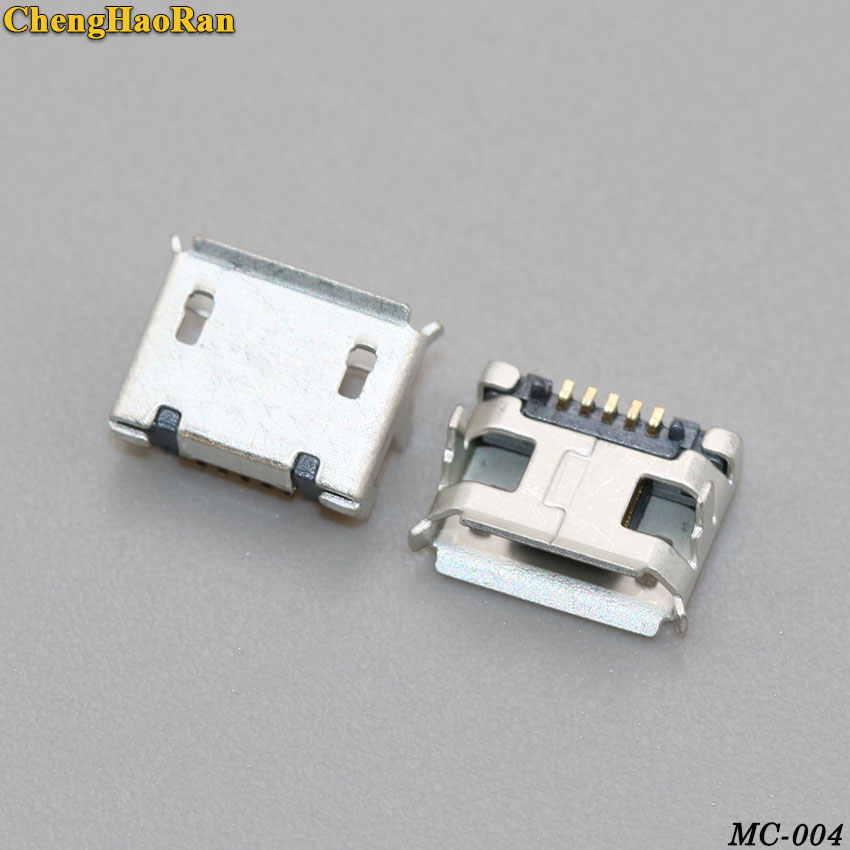 ChengHaoRan <font><b>50</b></font>-500pcs Micro <font><b>USB</b></font> <font><b>Jack</b></font> Charging Socket for CoolPad 5880 7266 7295 8190 5891 8150D 8195 8085 For Lenovo A2107 A2207 image