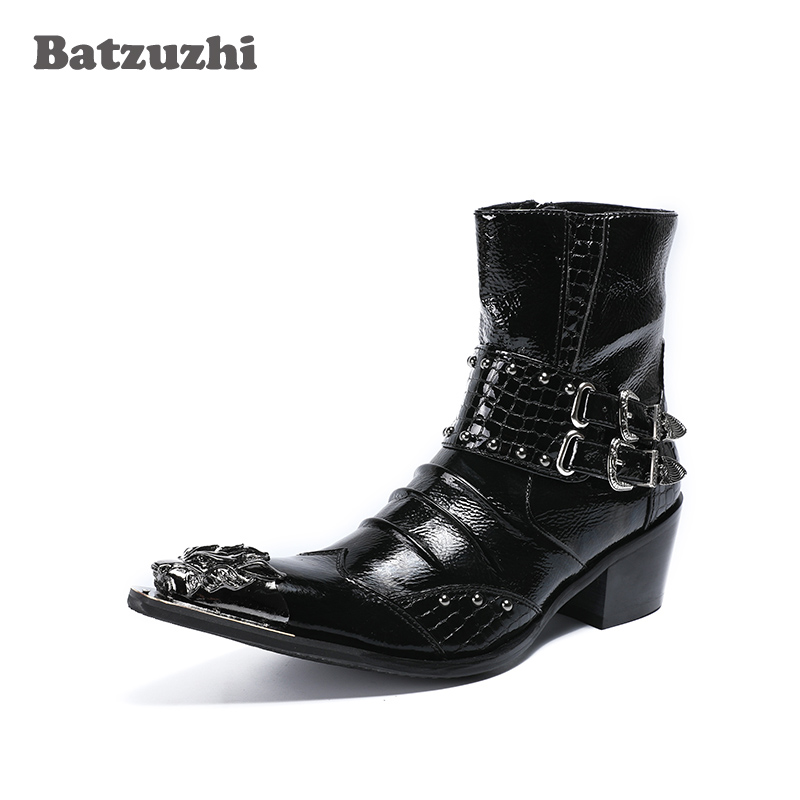 Здесь продается  Batzuzhzi 6.5cm Height Increased Men Boots Metal Pointed Toe Leather Botas Hombre with Buckles Punk Rock Motocycle Short Boots  Обувь