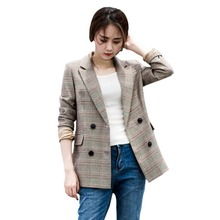 Jlong 2018  New Fashion Style Women's Clothing Blazer and Suits Plaid Print V-necked Full Sleeve Double Breasted With Pockets