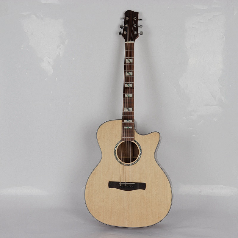 Solid spruce acoustic electric guitar butterfly wood with tuner EQ