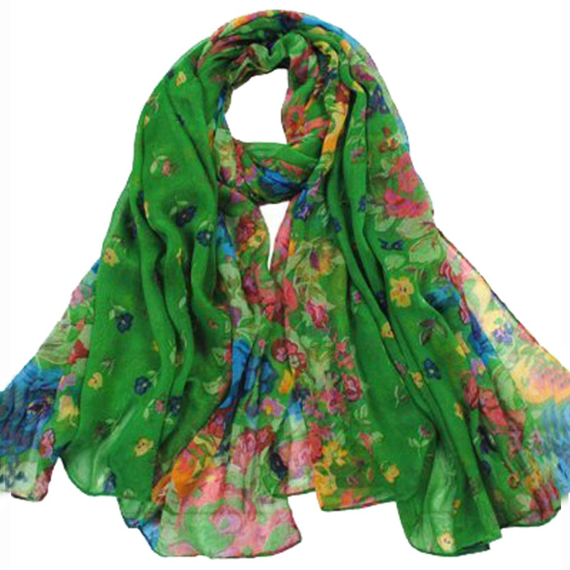 SAF-Women's Spring  Autumn Fashion Dark Green Soft Big Long Scarf Vintage Printing Scarves 160*50cm