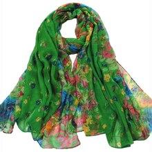 SAF-bufanda larga suave verde oscuro a la moda de primavera y otoño para mujer, bufandas estampadas Vintage de 160x50 cm