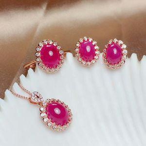 Image 1 - MeiBaPJ טבעי מיאנמר רובי חן 925 טהור כסף עגילי טבעת תליון שרשרת 3 חליפות בסדר למסיבת נשים