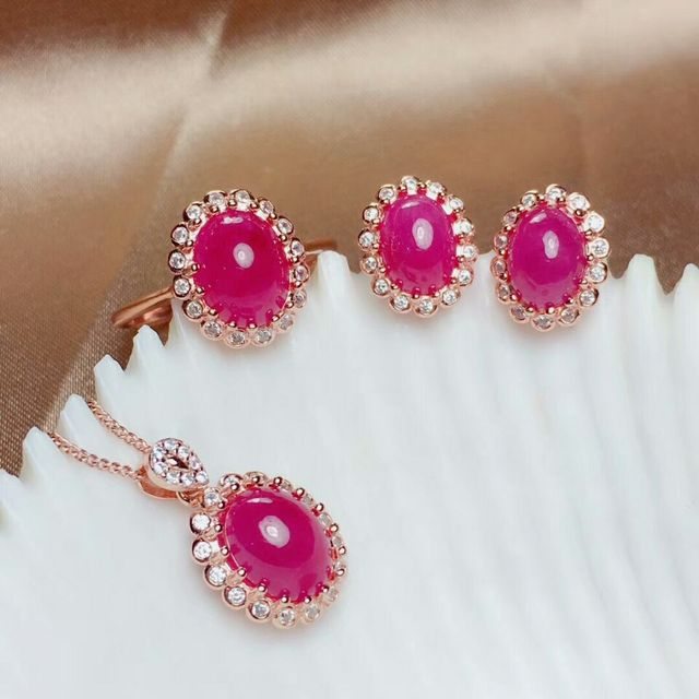 MeiBaPJ Natural Myanmar Ruby Gemstone 925 Pure Silver Earrings Ring Pendant Necklace 3 Suits Fine Wedding Jewelry Sets for Women