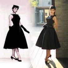 ДТЛ маленькому черному платью 50/60s рокабилли Одри Хепберн Платье Элегантные Вечерние туфли на выпускной в винтажном стиле, в стиле ретро; платья высокого качества Вечерние Выходные туфли на выпускной