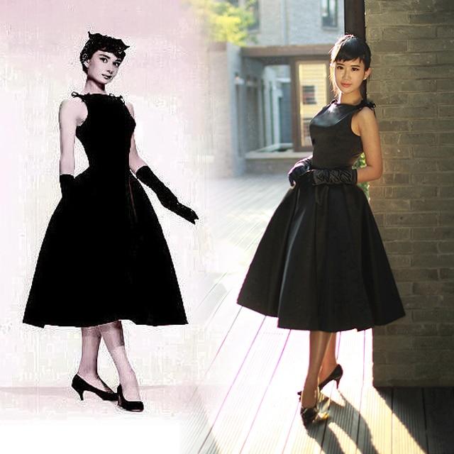 LBD little black dress 50 60s Rockabilly audrey hepburn dress elegant party  prom vintage retro vestidos high quality party prom 6dbe87d4f1b3