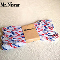 Mr.Niscar 2 Pair High Quality Fashion Brand Shoelaces Flat Casual Sneaker Shoe Laces Blue Red White Twill Polyester Shoelaces