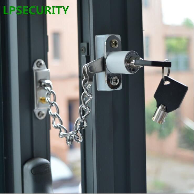 LPSECURITY d'obturation porte serrure de fenêtre avec chaîne en acier inoxydable, enfant porte de sécurité anti-vol chaîne serrure pour porte battante windows