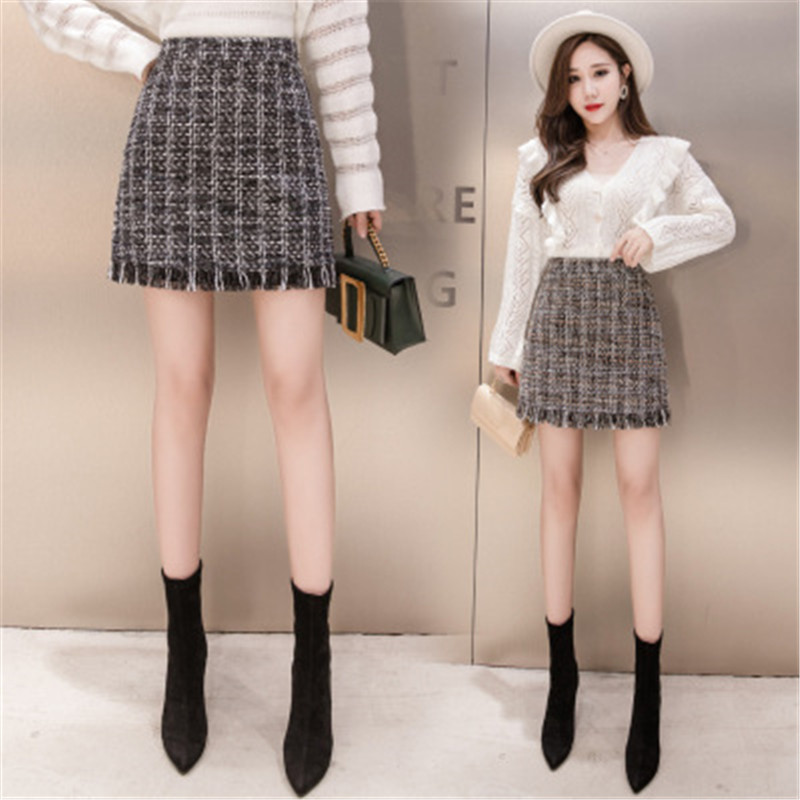 iMucci Women Woolen Mini Skirt Autumn Winter Vintage Straight Plaid Tassel Skater Skirt High Waist Femininas