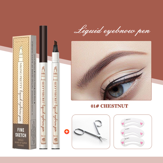 Waterproof Natural Eyebrow Pencil Four Fork Eye Brow Tint Makeup Four Colors Eyebrow Pencil Brown Black Grey Brush Cosmetics