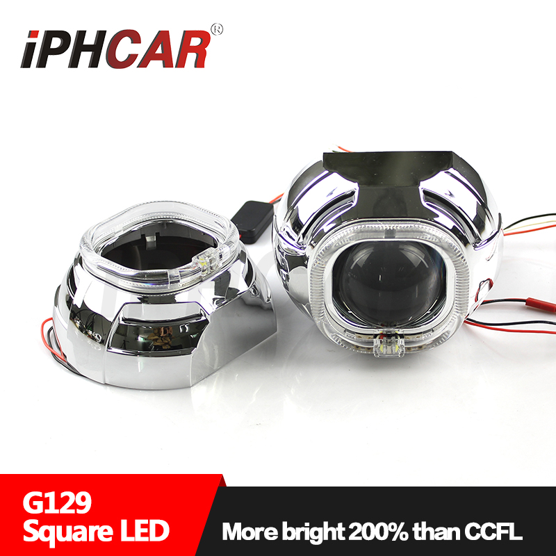 Free Shipping IPHCAR Car Styling High Quality 3.0'' Square Ring Projector Lens Headlight without D2H Bulb and Ballast lamtop projector bulb high quality and long lifespan elplp38 fit for projector emp 1710 free shipping