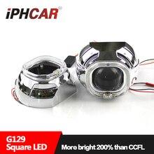 Бесплатная Доставка IPHCAR Стайлинга Автомобилей Высокого Качества LED 3.0 »Square Ring Объектив Проектора Фар без D2H Лампы и Балласта