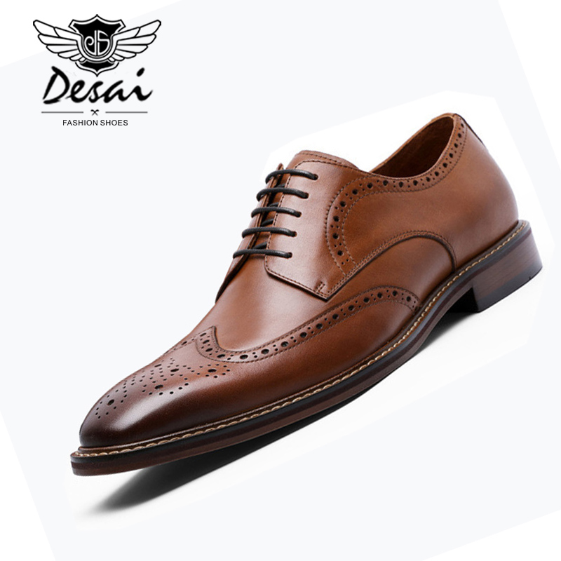 DESAI New Arrivals Men Business Dress Shoes Genuine Leather Brock Retro Gentleman Shoes Formal Carved Bullock Shoes Men DSA002