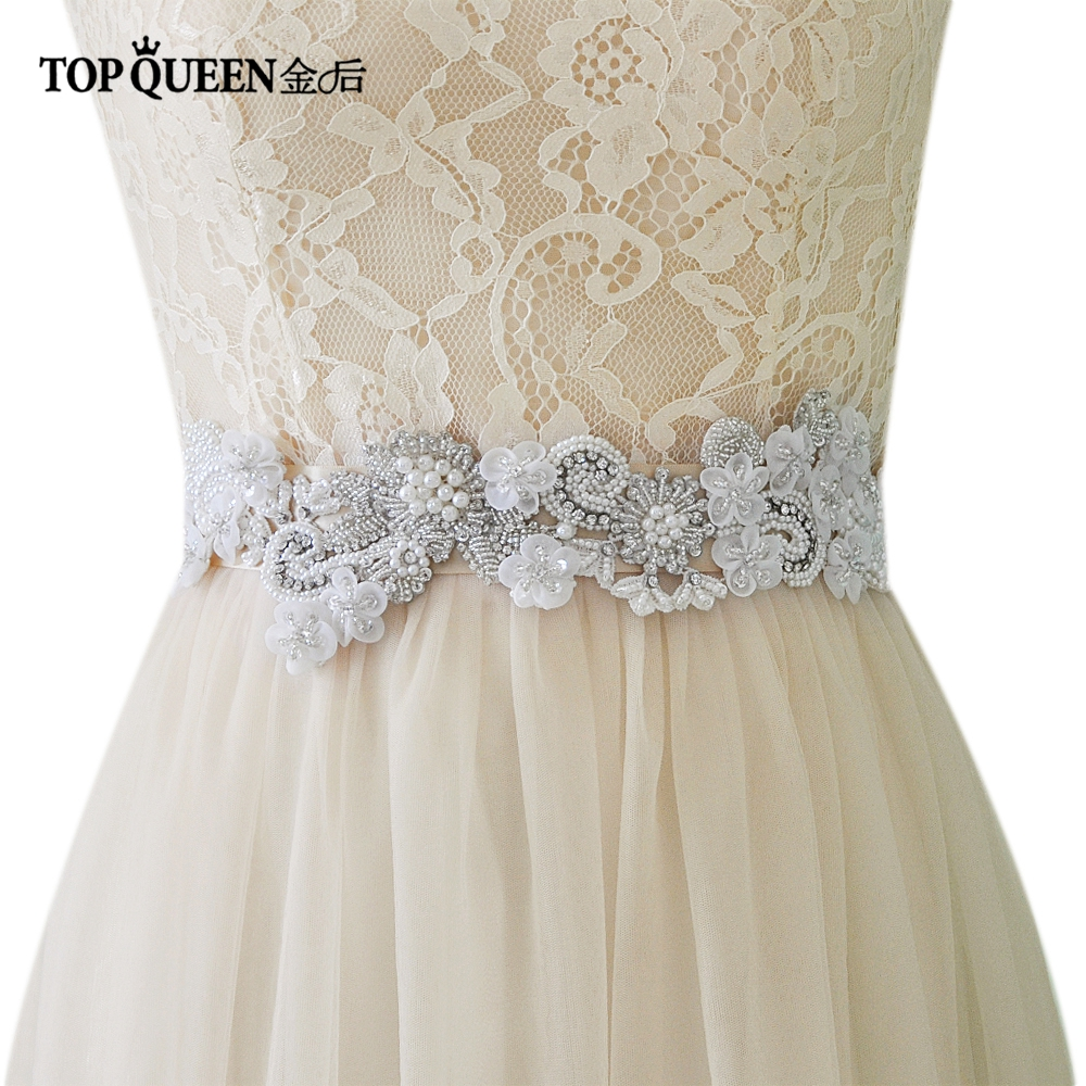 TOPQUEEN S331 New High grade Handmade Luxury Wedding sashe Pretty Crystal Beads Pearl Diamonds Embroidered Belt Wedding Sashes