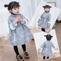 Kids Chinese New Year dress 2018 Winter For Girl Warm Children Chinese Clothing Princess Pink Long Sleeve Design Girls Dress
