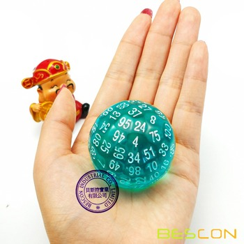 Bescon półprzezroczysty zestaw kości wielościennych 100 stron kości przezroczysta matryca D100 kostka 100 jednostronna gra w kości D100 kostka 100-Sided of Teal tanie i dobre opinie BCD24116