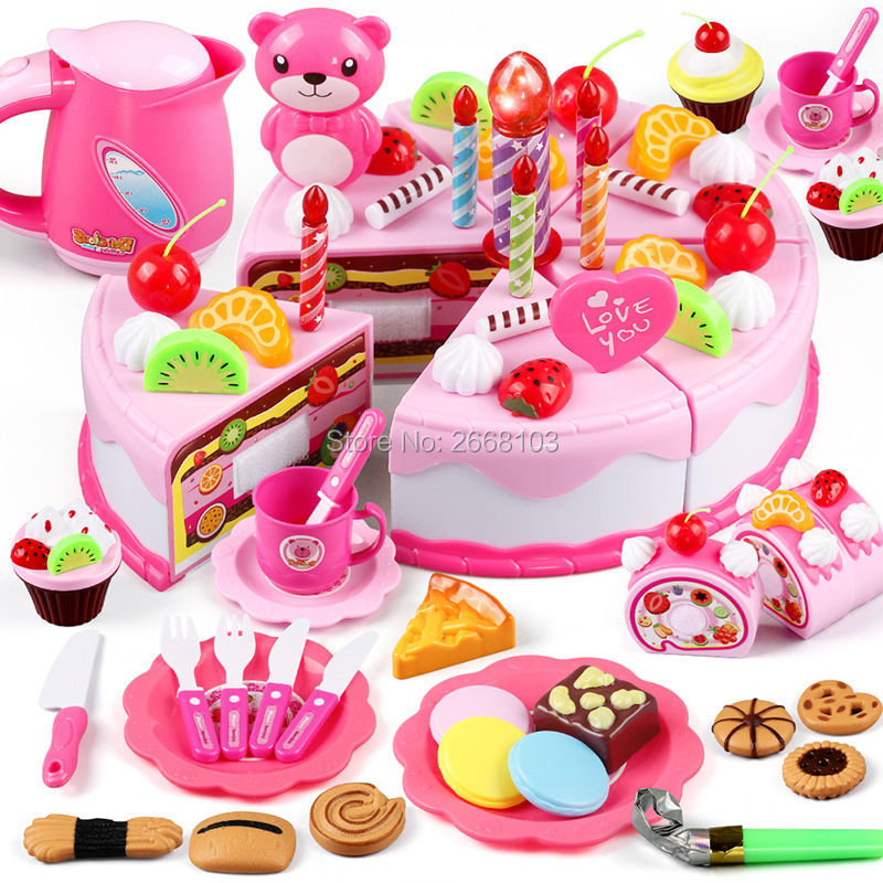 80PCS/Set Cake Food Kitchen Plastic Tea Cup Pretend Play Dishes Cutting <font><b>Birthday</b></font> Kettle Cookies Toys Kid Gifts Early Educational