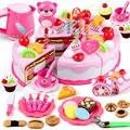 DIY 37-80 piezas torta Juguete Cocina juego De cumpleaños fruta juguetes De Cocina De Juguete rosa azul para chico regalo educativo
