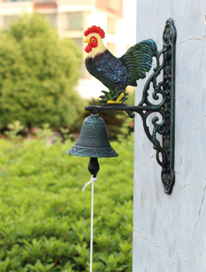 Cast Iron Hand Painted Rooster Door Bell Wall Mount Dinner Bell