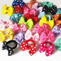 5 Pairs (10 Pcs) Sweet Solid Print Bow Elastic Hair ropes Kids Hair ties Adorable Ponytail Holder Hair Accessories