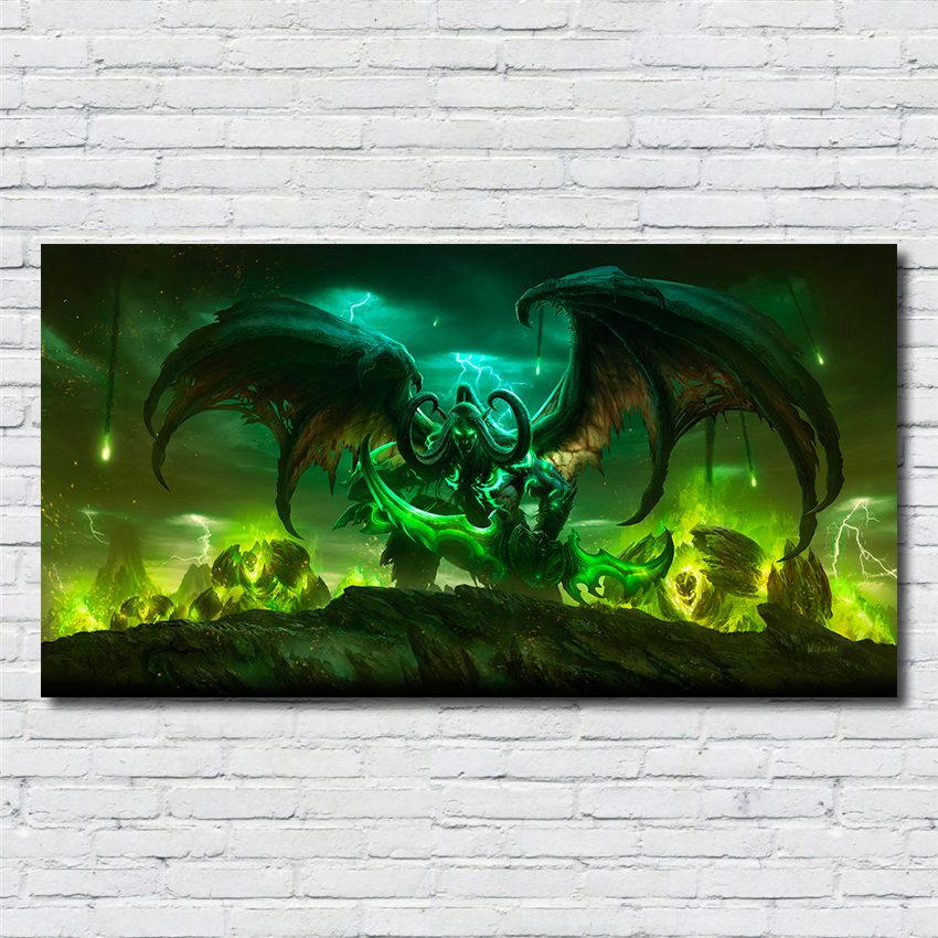 World Of Wow Illidan Arthas Online Games Painting Quality Home Decor