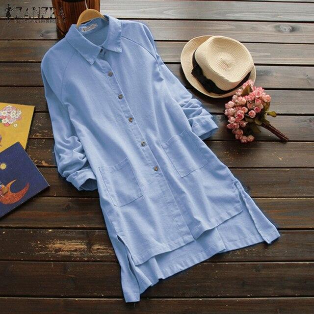 2018 плюс Размеры ZANZEA Лето Для женщин Повседневное нагрудные с длинным рукавом из хлопка и льна Свободные Твердые длинным рубашка Vestido Нерегулярные блузка S 5XL