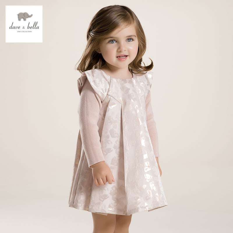 DB2802 dave bella spring autumn baby girl pink Princess dress infant clothes girls party dress baby birthday dress цены онлайн