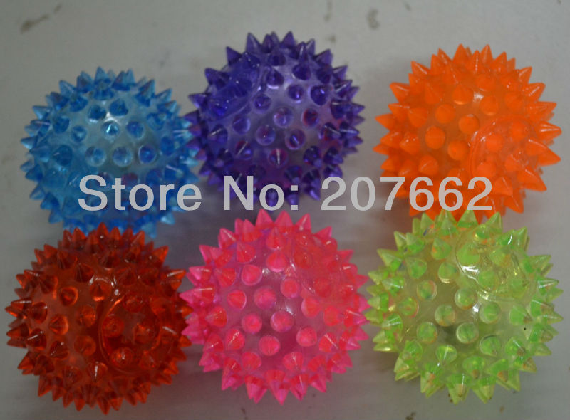 Free shipping 144pcs/lot 7.5cm glowing bouncy ball Flashing Ball Spikey Massage LED Party Gifts novelty toy