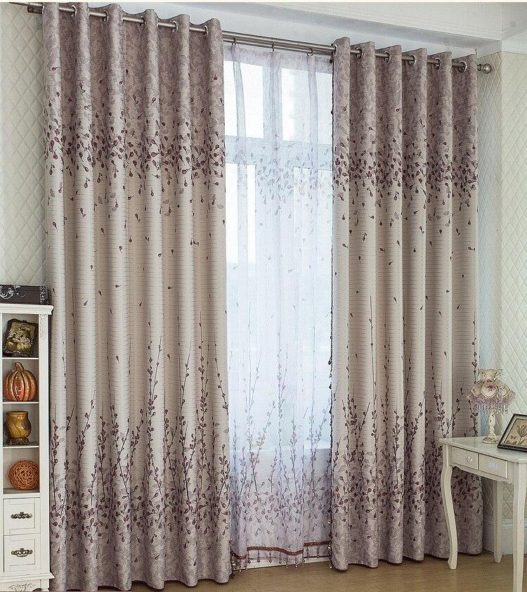 personnalis moderne double c t s blackout fen tre rideaux gris avec beige tulle pour le salon. Black Bedroom Furniture Sets. Home Design Ideas