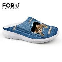 FORUDESIGNS 2019 Flat Woman Sandals Cute Cats Design Neutral Sandals Casual Summer Beach Water Shoes Girls Clogs Garden Slipper