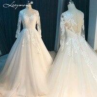 Leeymon Lange Mouwen Lace Trouwjurk 2017 Sheer V Terug Bruidsjurk Plus Size Vestido de Noiva Princesa LY7235