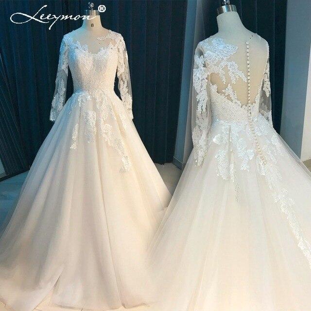 Leeymon Long Sleeves Spitze Brautkleid 2017 Sheer V Zurück ...