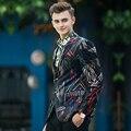 2016 Novos Homens Blazer Jaquetas de Impressão Moda Preto Magro Serve Para Casamento Homens Terno jaqueta Casaco Primavera Outono