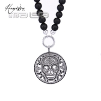 Thomas Matt Obsidian Beads Necklace with Skull Mask Pendant, European TS Obsidian Bead Necklace Jewelry for Men